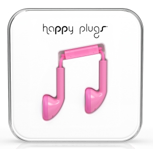 Happy Plugs Pink Earbud слушалки с Mic & Remote