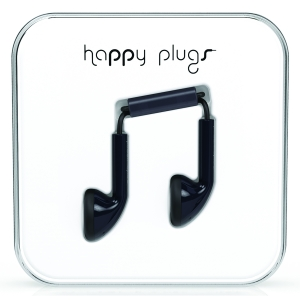 Happy Plugs Black Earbud слушалки с Mic & Remote