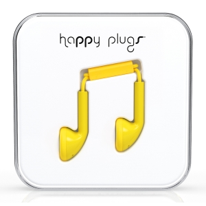 Happy Plugs Yellow Earbud слушалки с Mic & Remote