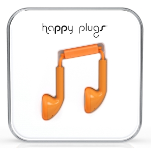 Happy Plugs Orange Earbud слушалки с Mic & Remote