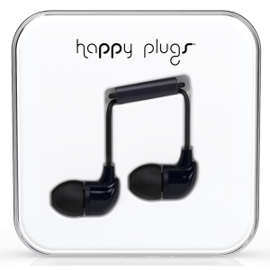 Happy Plugs Black In-Ear слушалки с Mic & Remote