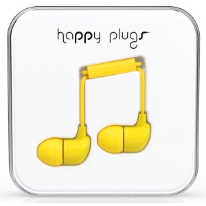 Happy Plugs Yellow In-Ear слушалки с Mic & Remote