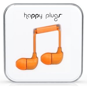 Happy Plugs Orange In-Ear слушалки с Mic & Remote