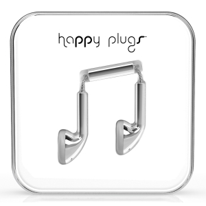 Happy Plugs Silver Earbud слушалки с Mic & Remote