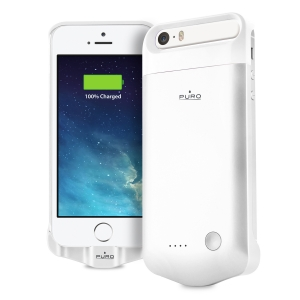 PURO сребрист калъф с вградена батерия за iPhone 5/5