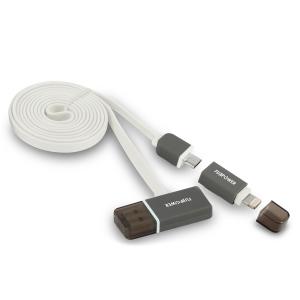 FUJIPOWER MICRO-USB/LTG FLAT кабел: бял: 1.0м
