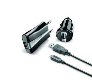 Зарядно 3 в 1 - 12V+220V + microUSB кабел 1А