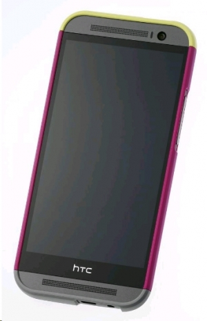 HTC One (M8) Double Dip Hard Shell HC C940 Dark Pink Body, Yellow Top, Grey Bottom