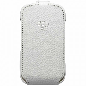 BlackBerry Leather Flip Shell Case for Curve White