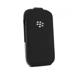 BlackBerry Leather Flip Shell Case for Curve Black