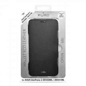 PURO BOOKLET калъф/стойка за ASUS Zenfone 2:Черен