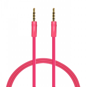 PURO плосък стерео аудио кабел: 1.0м:розов